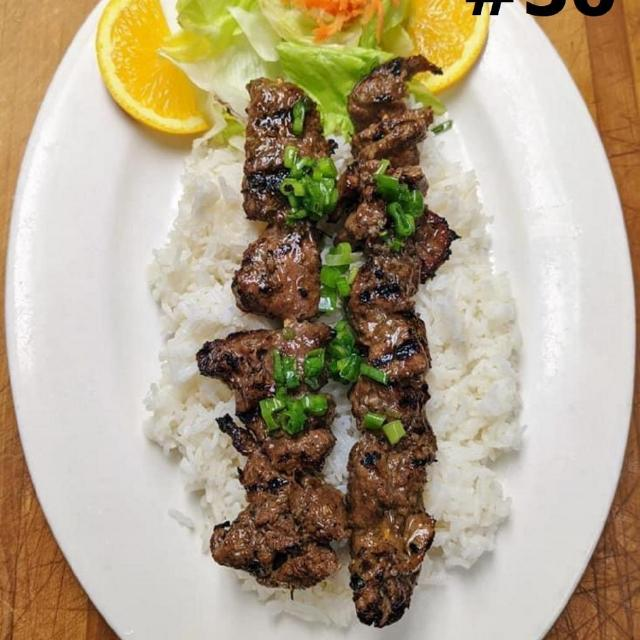 56.	Grilled Beef Steamed Rice