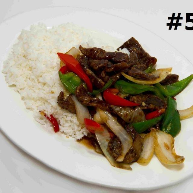 57.	Ginger Beef Steamed Rice