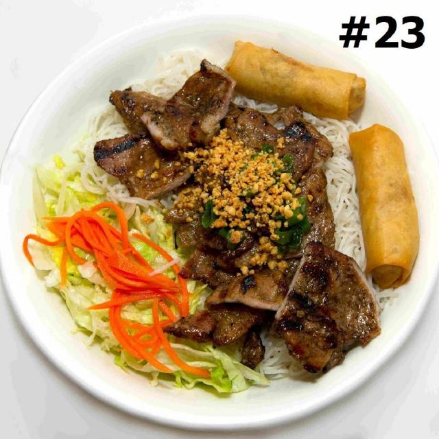 23.  Grilled Pork and Spring Rolls