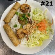 21.  Grilled Shrimp and Spring Rolls